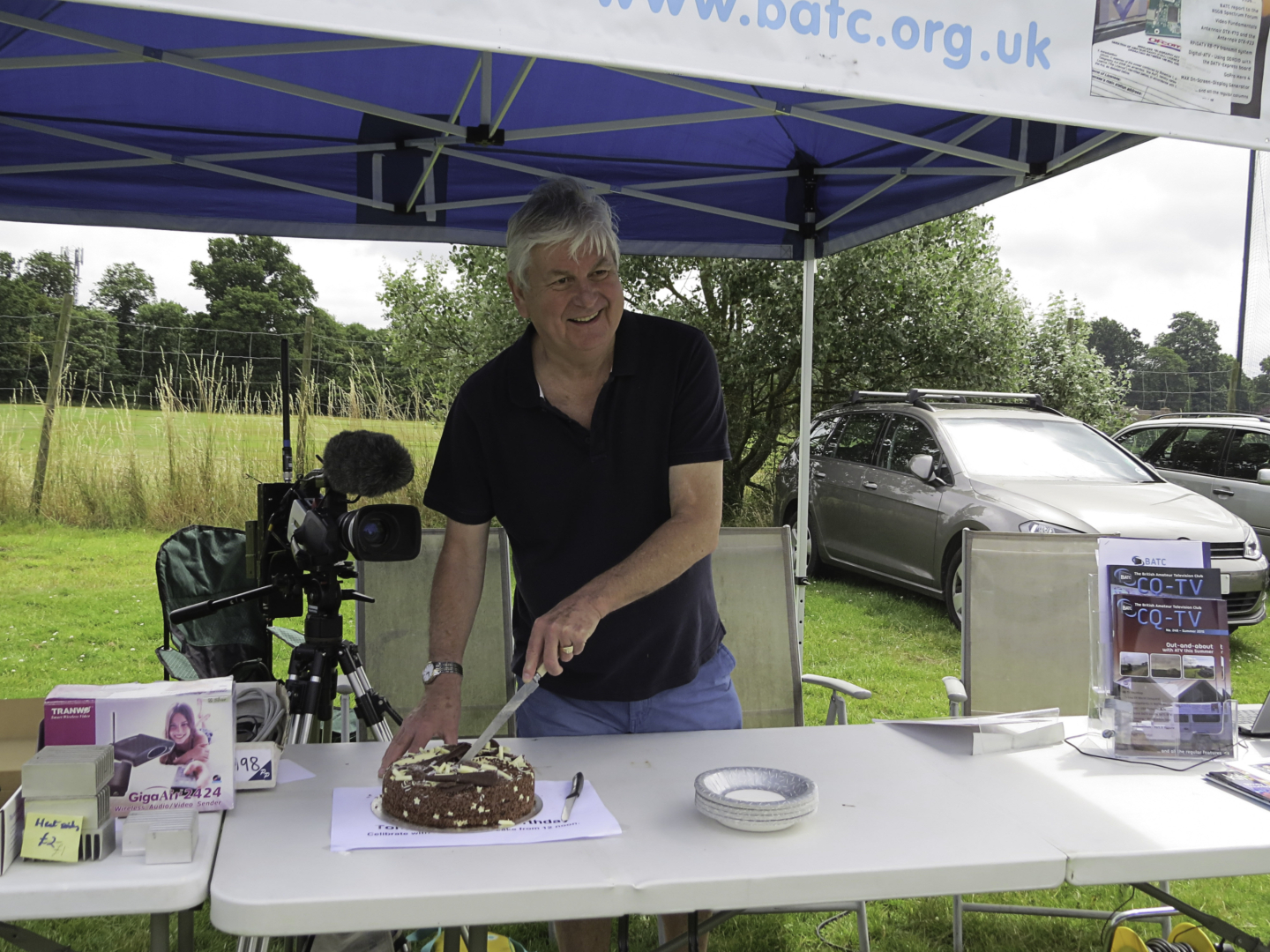 Tony Cutting His Birthday Cake on the BATC Stand Reading Rally July 2016